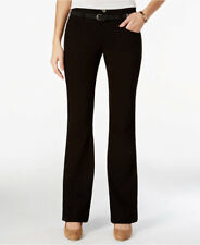 Juniors High-Waist Bootcut Trousers Belted Stretch Cotton Blend Black Pants