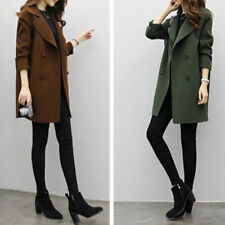Womens Double-breasted long trench collar coat slim wool jacket outwear Parka