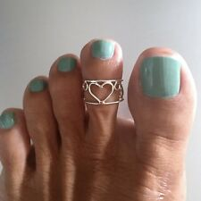 Sterling Silver Adjustable Wire Wrap Heart Toe Ring