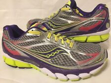 Womens SAUCONY Ride 7 Running Athletic Shoes Silver Purple Citron White Sizes10