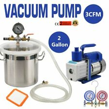 2 Gallon Stainless Steel Degassing Vacuum Chamber with 3CFM Vacuum Pump USA BP