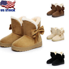 Women Ladies Winter Bowknot Furry Lined Snow Ankle Boots Slip-on Warm Shoes Size