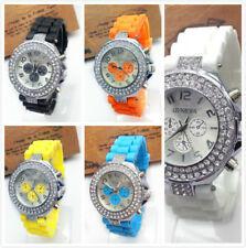 Silicone Geneva Crystal Quartz Jelly Wrist Watch Versicolor For Lady Women