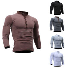 Fashion Men V-neck Button Front Long Sleeve Casual Slim Fit T-Shirt Tops Tee Top