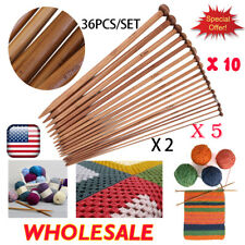 LOT Single Pointed Knitting Needles Set (10in 18 pairs Bamboo Wood Carbonize) SO