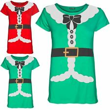 Womens Ladies Xmas Santa Claus Costume Ribbon Belted Cap Sleeve T Shirt Tee Top