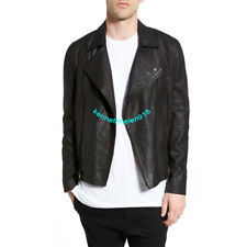 TRUE RELIGION MENS RUSSELL WESTBROOK DOUBLE ZIP MOTO LEATHER JACKET BLACK SIZE M