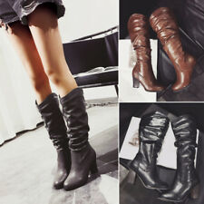 Womens Casual PU Leather Shoes Chunky Block High Heel Pointed Toe Mid Calf Boots
