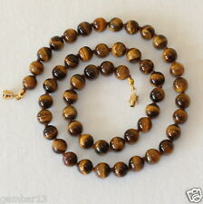 Tiger Eye Necklace 8mm Tiger's Eye Beads Hand Knotted Brown Tigers Eye Beads