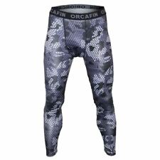 Mens Navy Camouflage Sports Compression Tight Leggings GYM Fitness Base Pants