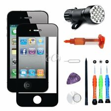 Outer Screen Glass Lens Black Replacement for iPhone 4/4S Glue Tool Kit UV Light