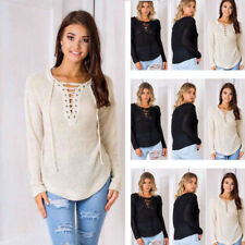 Womens Deep V-Neck Knitted Sweater Jumper Lace-Up Pullover Blouse Shirt Tops Tee