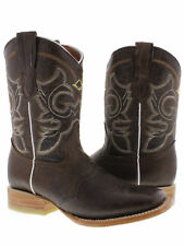 Women's Brown Mid Calf Cowboy Rodeo Leather Wear Square Toe Boots