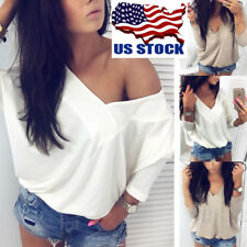US Women's Deep V Long Batwing Sleeve Tops Autumn Casual Pullover Blouse T Shirt