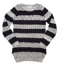LADIES WOMENS BLACK AND WHITE STRIPED FLUFFY JUMPER KNITWEAR PULLOVER SWEATER