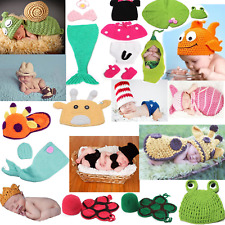 Newborn Baby Girls Boys Crochet Knit Costume Photo Photography Props Hat Diaper