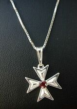 Sterling silver Maltese Cross pendant with chain Factory price!