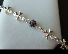 925 Sterling Silver Maltese Cross Bracelet with Shamballa Crystal balls