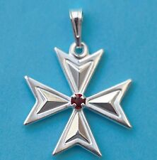 Bargain price! Sterling Silver Maltese Cross Pendant with Stone Order of St.John