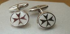 925 Sterling Silver Maltese Cross Solid Oval Cufflinks with White Enamel