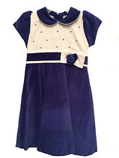 Christmas Dress Royal Blue Velvet & Ivory NWT size 4 Willbeth Dressy Girls