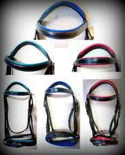 Accented Brow band & Nose band Black English Bridle HORSE Pink/ Blue/ Teal SALE!