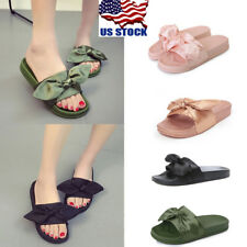 Womens Summer Plain Rubber Bow Sliders Flats Shoes Casual Slippers Sandals Size
