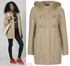 TOPSHOP WOOL TOGGLE DUFFLE HOODED COAT SIZE UK10/EUR38/US6 RRP £89