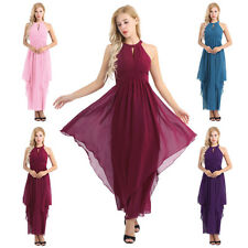 Fashion Women Dress Bridesmaid Long Evening Gown Halter Chiffon Party Cocktail