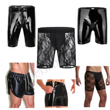 Black Sexy Mens Faux Leather Sports Hot Boxer Brief Short Pants Trunks Underwear