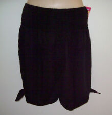 LADIES GO GIRL ROUCHED TIE SHORTS 100% RAYON BLACK WHITE & NAVY SIZES S/M & L/XL