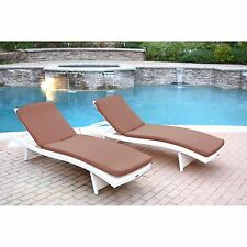 2 Piece Brown Cushion Resin Wicker Chaise Lounge Set Home Outdoors Furniture
