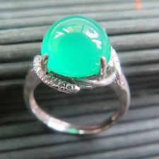 New Solid 925 Sterling Silver W/ 10mm H Natural Green Chalcedony Ring Size 6-8