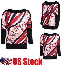 Plus Size Women's Long Bat Sleeves Pullover Batwing Loose Tops Jumper Blouse USA
