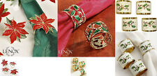 Lenox Napkin Rings Set of 4 /Holly & Berries/Nouveau/Poinsettia