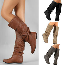 Women's Low Flat Heel Mid-Calf Knee High Slouch Riding Boot Shoes Size 5 - 9.5