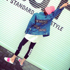Women's Korean Style Fashion Letter Print Loose Casual Denim Coat Jacket
