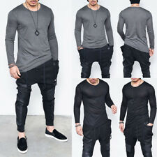 Mens Boys Slim Fit Long Sleeve T-shirts Casual Basic Shirt Tops Pullover Outwear