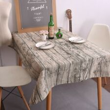 Simulation Wood Striped Table Cloth Cotton Linen Tablecloth Table Cover Decor