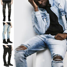 Men's Skinny Slim Fit Jeans Ripped Denim Knee Destroyed Hole Long Pants Trousers