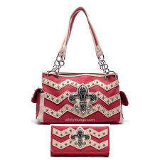 Color Block Fleur De Lis Chevron Shoulder Bag L wallet set rhinestone Zigzag