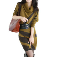 2017 Autumn Winter New Women Dresses Long Sleeve Knit Sweater Dress Turtleneck