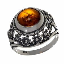 """Sterling Silver and Baltic Honey Amber Ring """"Meadow"""""""