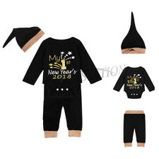 2018 Infant Baby Boys Girls My 1st New Year Outfit Romper+Pants+Hat Clothes Set