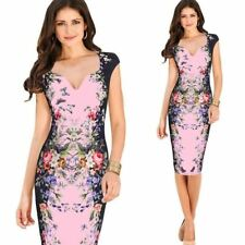 Women Deep V Neck Floral Printed Short Sleeve Party Wear Bodycon Dress M634