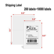 200~10000 Half Sheet self adhesive 8.5 X 5.5 Shipping Blank Labels For UPS FedEX