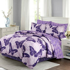 Comforter Set Complete Bedding Microfiber Sheets Shams Girls Bed In A Bag Purple