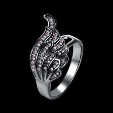 Classic Design Angel Wing Design Women Ring Zircon Decoration Lady Finger RingWY