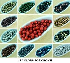 100pcs Matte Metallic Round Faceted Fire Polished Spacer Czech Glass Beads 4mm