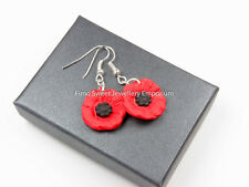 poppy  flower remembrance  fimo stunning dangle earrings 19mm or 24mm BOXED